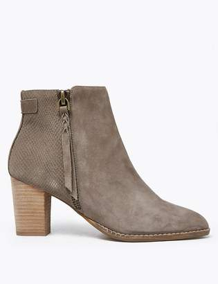 Marks and Spencer Suede Snakeskin Print Block Heel Ankle Boots