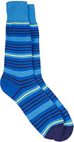 Paul Smith Men's Spin-Striped Mid-Calf Socks-BLUE