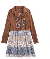 Knitworks Girls 7-16 Moto Jacket, Floral Dress & Necklace Set