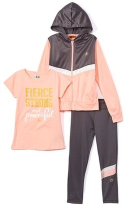 RBX Girls Tricot Zip Jacket, Graphic T-Shirt and Performance Leggings, 3-Piece Active Set Sizes 7-12