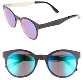 BP Women's 50Mm Mirrored Round Sunglasses - Black/ Blue