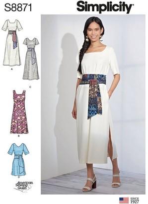 Simplicity Misses'/Miss Petite Wrap Tie Dress Sewing Pattern, 8871
