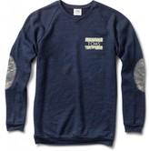 Camo Women's Crewneck Navy Sweatshirt with Elbow Patches