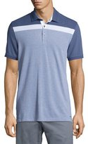 Michael Kors Striped-Chest Short-Sleeve Polo Shirt, Blue