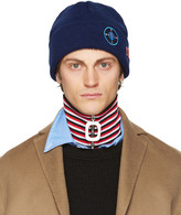 Raf Simons Navy Wool Patches Beanie