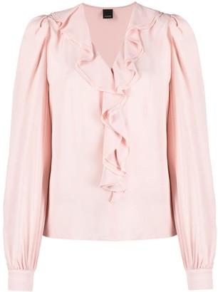 Pinko ruffle detail V-neck blouse