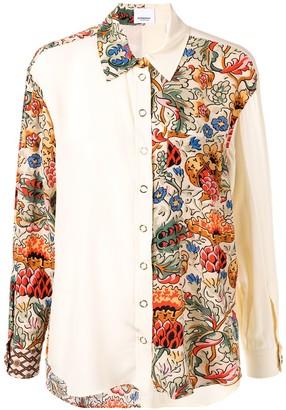 Burberry floral-print colour-block shirt