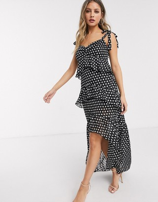 Lipsy x Abbey Clancy ruffle tiered maxi dress with tie shoulder detail in polka print