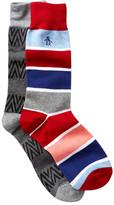 Original Penguin Stripe & Chevron Crew Socks - Pack of 2