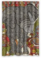 Vintage Design New Style Elephant Polyester Bathroom Shower Curtain 48(W)x72(H)-Inch