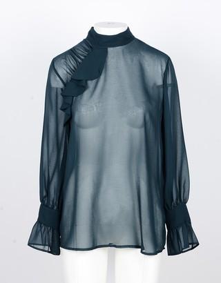 Annarita N. Petrol Transparent Women's Shirt w/Ruffles