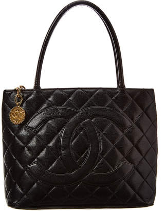 Chanel Black Quilted Caviar Leather Medallion Bag