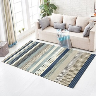 "Breakwater Bay Olveston Striped Black/Gray Area Rug Rug Size: Rectangle 2'6"" x 4'"