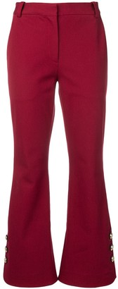 Derek Lam 10 Crosby Cropped Crosby Cotton Twill Flare Trousers with Sailor Buttons