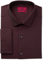 Alfani RED Men's Fitted Performance Burgundy Diagonal Stripe French Cuff Dress Shirt, Only at Macy's