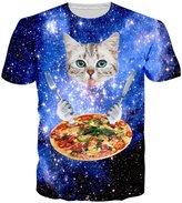 RAISEVERN Unisex Cute Pizza Cat Round Neck Novelty T shirts Funny Idea Tee Shirts