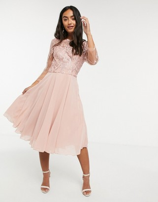 Chi Chi London lace 3/4 sleeve midi dress in pink