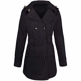 Fashion Thirsty Womens Ladies Double Breasted MAC Belted Coat Canvas Smart Jacket Trench Parka (M - UK Size 12