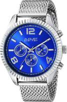 August Steiner Men's AS8196SSBU Round Radiant Sunburst Dial Two Time Zone Quartz Bracelet Watch