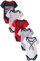 Nautica Baby Boys' Newborn Five-Pack Bodysuits, 6-9 Months