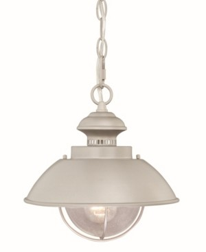 Vaxcel Harwich Brushed Nickel Coastal Farmhouse Barn Clear Seeded Glass Pendant Light
