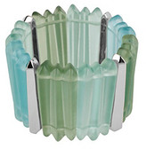 Kenneth Cole Silvertone & Blue/Green Geometric Long Bead Stretch Bracelet