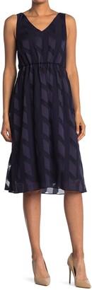 Adrianna Papell Geometric Jacquard Sleeveless Dress
