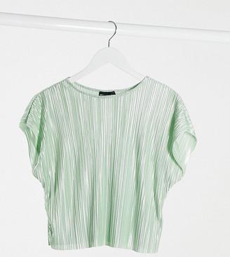 ASOS DESIGN Petite plisse t-shirt in sage green