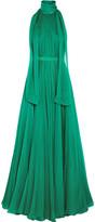 Alexander McQueen Crinkled Silk-chiffon Halterneck Gown - Jade
