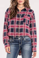 Miss Me Red Studded-Plaid Top