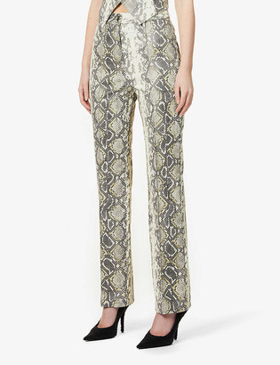 Rotate by Birger Christensen Robyn snake-print boot-cut mid-rise faux-leather trousers