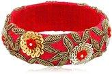 Chamak by Priya Kakkar Red Rosa Velvet Beaded Bangle Bracelet