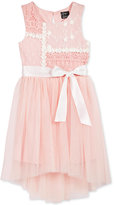 Pink & Violet Lace-Top Mesh Dress, Toddler & Little Girls (2T-6X)
