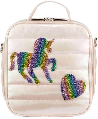 Bari Lynn Kid's Puffy Lunch Box w/ Unicorn & Heart Crystal Patches