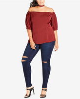 City Chic Trendy Plus Size Tie-Neck Off-The-Shoulder Top