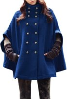 Allegra K Women Stand Collar Double Breasted Worsted Poncho Coat L