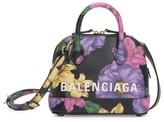 Balenciaga Extra Extra-Small Ville Floral Top Handle Leather Bag