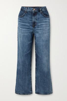 J Brand Joan Cropped High-rise Wide-leg Jeans - Mid denim