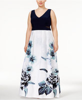 Xscape Evenings Plus Size Floral-Print A-Line Gown