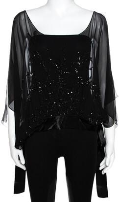 Elie Saab Black Silk Sequin Embellished Sheer Kaftan Top L