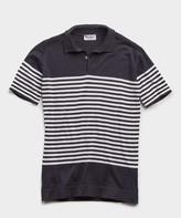 John Smedley Sweaters Striped Sea Island Cotton Polo in Navy