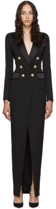 Balmain Black Wool Long Double-Breasted Dress
