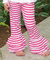 Princess Linens Hot Pink & White Stripe Ruffle Pants - Infant Toddler & Girls