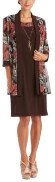 R & M Richards Plus Size Puff-Print Dress & Jacket