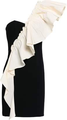 Cinq à Sept One-shoulder Ruffled Twill And Crepe Mini Dress