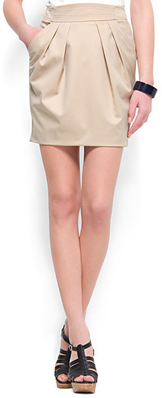 MANGO Plaint-front mini skirt