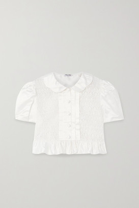 Miu Miu Cropped Ruffled Duchesse Silk-satin And Lace Top - White