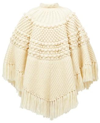 Saint Laurent Fringed Bobble-knit Poncho - Ivory