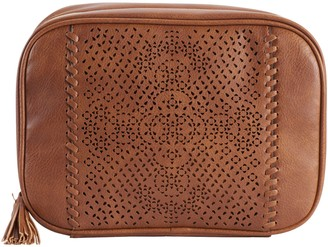 Violet Ray Floral Whipstitch Zip-Around Travel Cosmetic Case