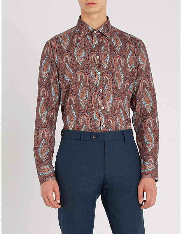 Etro Moroccan paisley-print regular-fit stretch-cotton shirt
